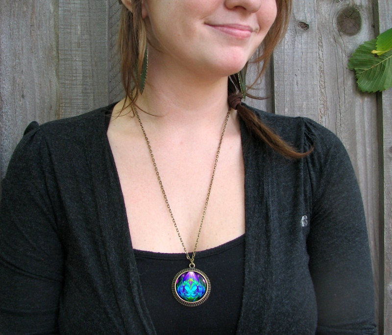 "Twin Flames Necklace, Heart Pendant, Purple Teal Chakra Jewelry, Reiki Healing ""Unity"" - product images  of"