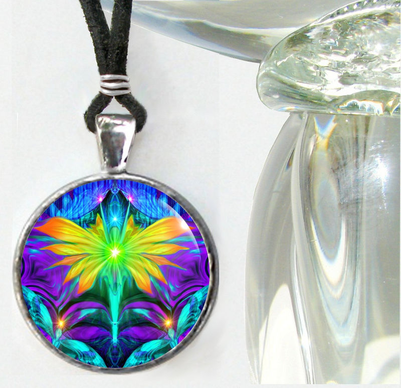 "Fairy Art Necklace, Psychedelic Angel, Rainbow Chakra Jewelry ""Center"" - product images  of"
