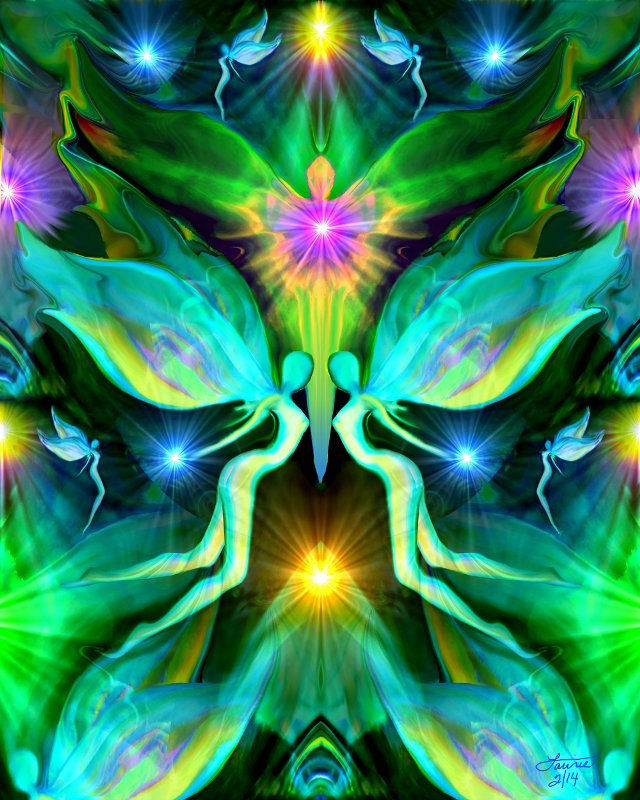 Reiki Energy Art Green Heart Chakra Healing Angel Print