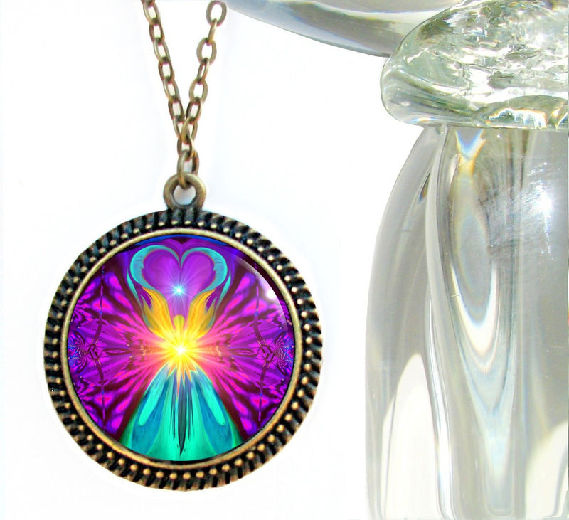 "Rainbow Necklace, Chakra Healing Jewelry, Reiki Angel Pendant Necklace ""The Beacon"" - product images  of"