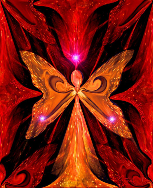 Red Chakra Art,  Angel Wall Decor, Reiki Energy Healing Art Print