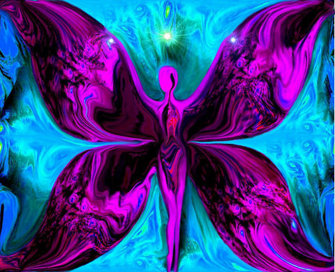 Spiritual,Art,,Reiki,Wall,Deco,,Fairy,Fantasy,Print,Metamorphosis,Duality,fairy art, fairy decor, primal painter, primalpainter, twin flames, twin souls, violet flame healing, violet flame, chakra art, reiki art, visionary art, rainbow art, angel art, digital art, psychedelic art, yoga room, meditation, spiritual art, wall deco