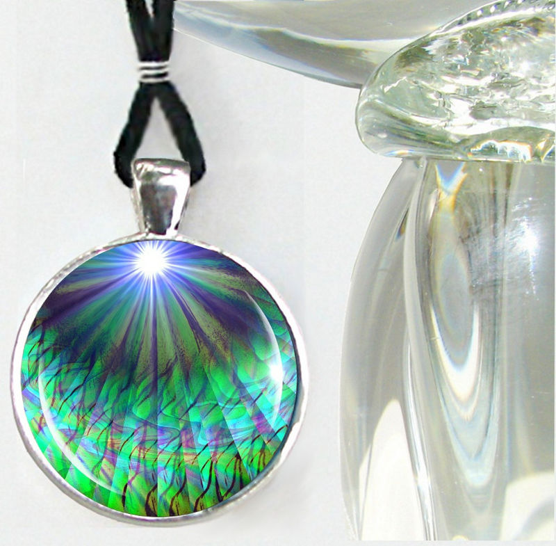 "Blue Green Necklace, Heart Chakra Pendant, Reiki Jewelry ""New Growth"" - product images  of"