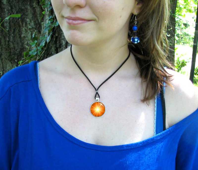 Orange Accessory, Chakra Art Jewelry, Energy Pendant, Silver - product images  of