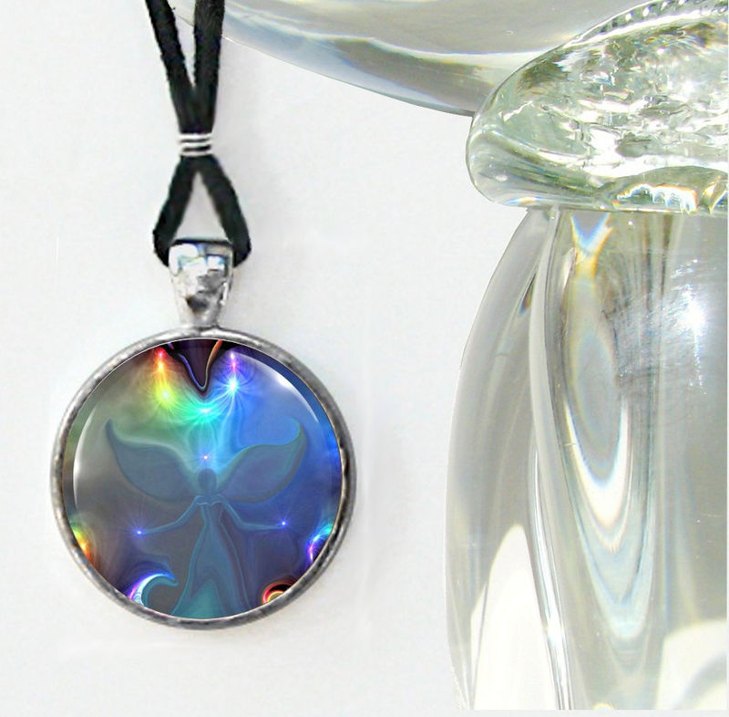 "Angel Art Jewelry, Chakra Necklace, Energy Pendant, ""Through the Mist"" - product images  of"
