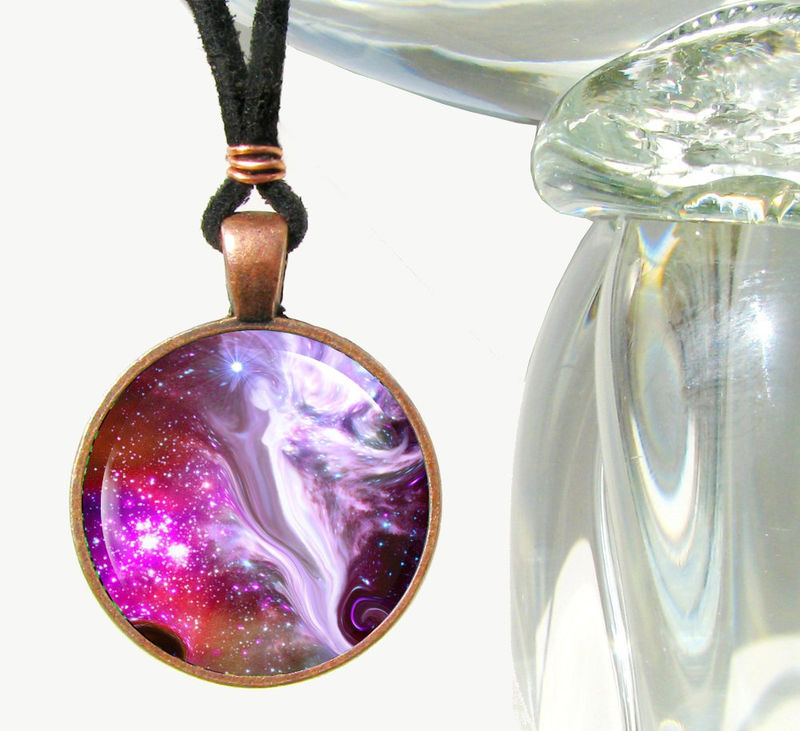 "Angel Art Necklace, Spiritual Jewelry, Reiki Energy Pendant ""The Guardian"" - product images  of"