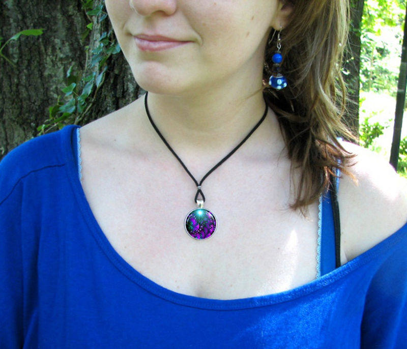 "Purple Art Necklace, Chakra Jewelry, Reiki Healing ""Worlds Within Worlds"" - product images  of"