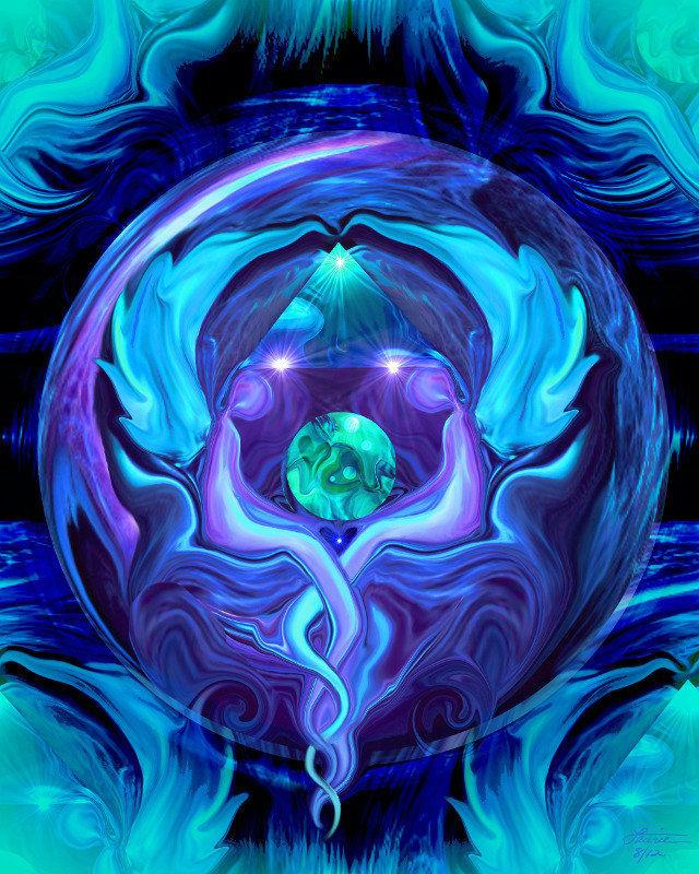Reiki Art Healing Circle Twin Flames Blue Angel Wall