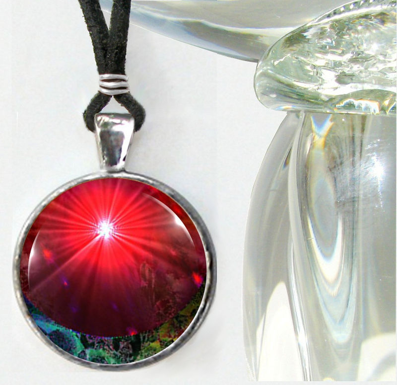 "Red Necklace, Abstract Art, Chakra Jewelry ""Venus Rising"" - product images  of"