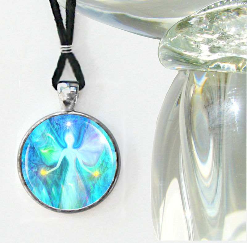 "Chakra Jewelry, Teal Energy Healing Reiki Necklace ""Aura Angel"" - product images  of"