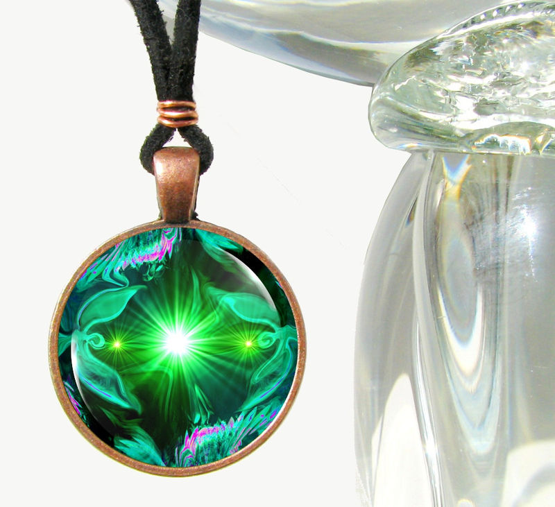 "Green Necklace, Angel Art, Heart Chakra Pendant, Reiki Jewelry ""Angel Heart"" - product images  of"