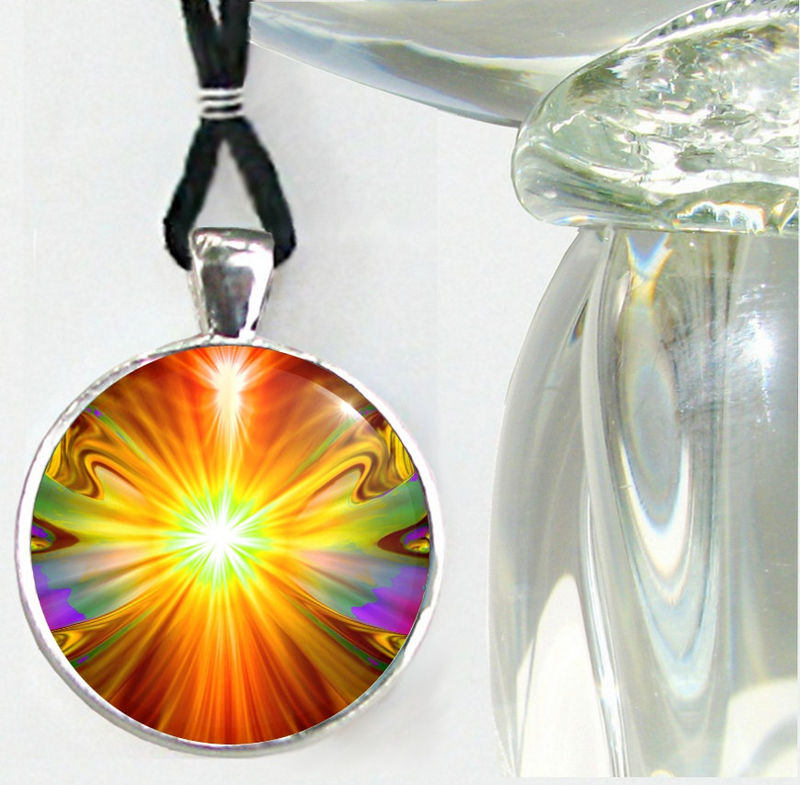 "Orange Jewelry, Handmade Necklace, Reiki Pendant, Psychedelic ""Light Being"" - product images  of"