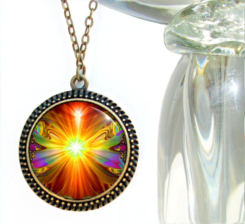 "Abstract Art Necklace, Orange Jewelry, Chakra Pendant ""Light Being"" - product images  of"
