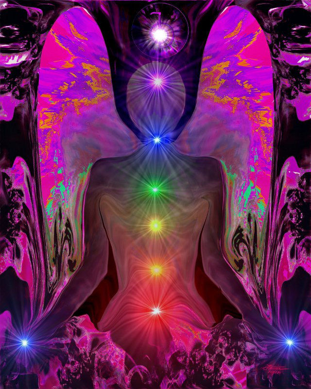 "Rainbow Angel Art, Chakra Alignment, Reiki Healing Wall Decor Print ""Balance Within Chaos"" - product images  of"