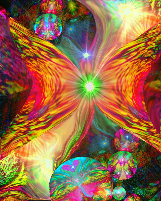 Abstract Angel, Psychedelic Fairy, Reiki Wall Decor, Chakra Art - product images