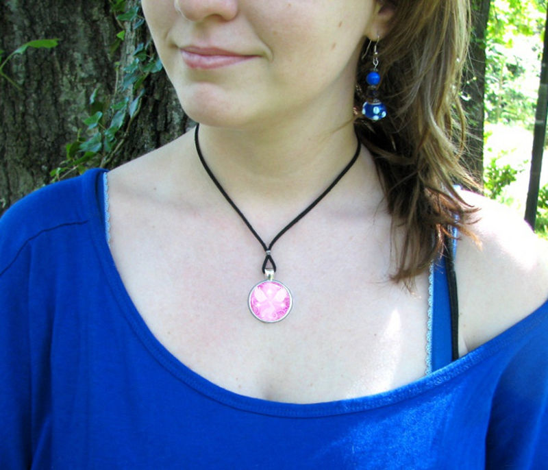 "Reiki Jewelry, Angel Energy Art Necklace, Pink Pendant ""Bliss"" - product images  of"