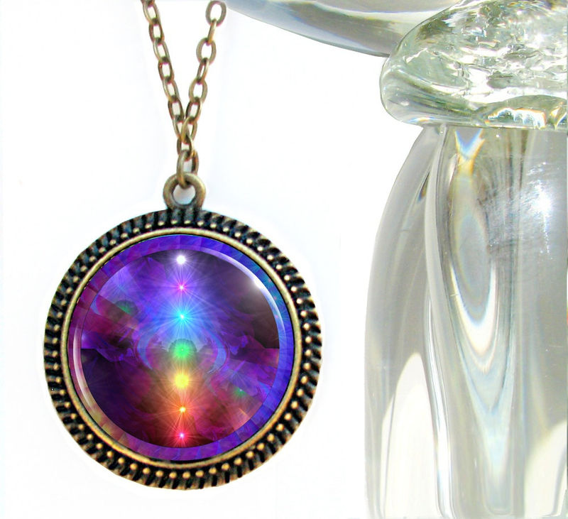 "Rainbow Reiki Necklace, Spiritual Jewelry Large Art Pendant ""Chakra Alignment"" - product images  of"