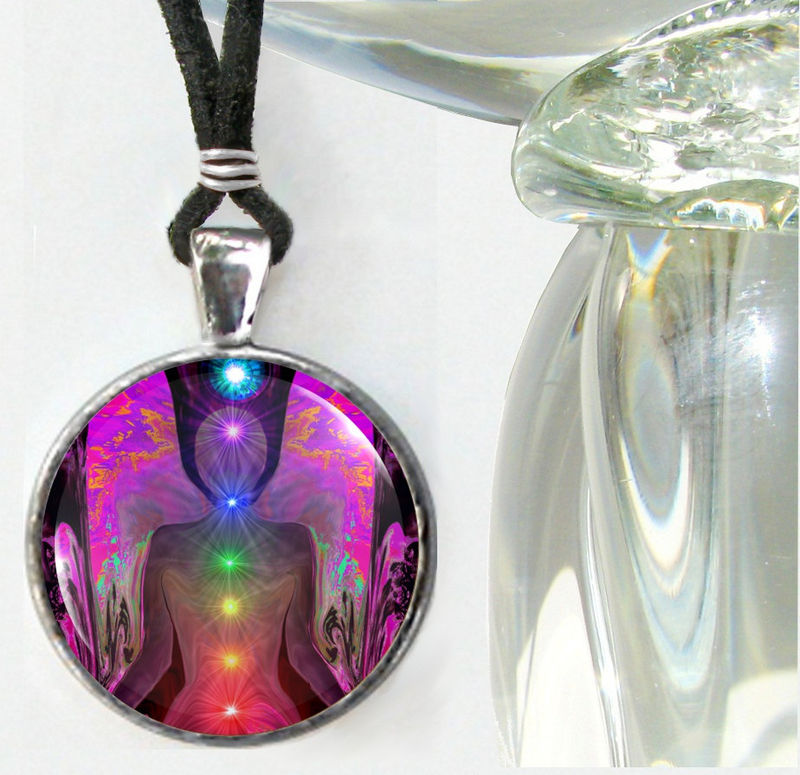Chakra Jewelry Angel Necklace Reiki Energy Art Pendant Necklace - product images  of
