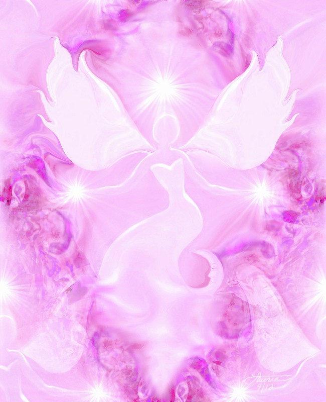 Pink Angel Art Reiki Wall Decor Spiritual Healing U0026quot;Blissu0026quot; - Primal Painter