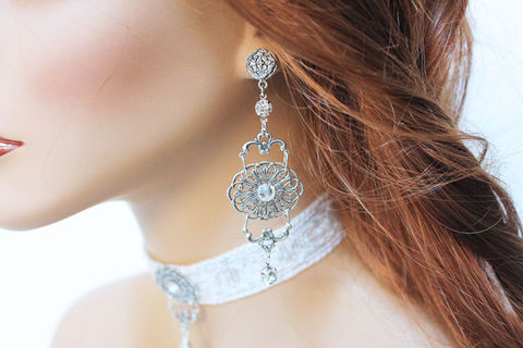 Fancy,Silver,Filigree,Dangle,Earrings,Jewelry,Chandelier,bridal_earrings,dangle_earrings,wedding_jewelry,bridal_jewelry,long_earrings,special_occasion,fancy_earrings,jewelshart,rhinestone_earrings,long_dangle,filigree_earrings,long_dangle_earring,fancy_jewelry,oxidized silver over br