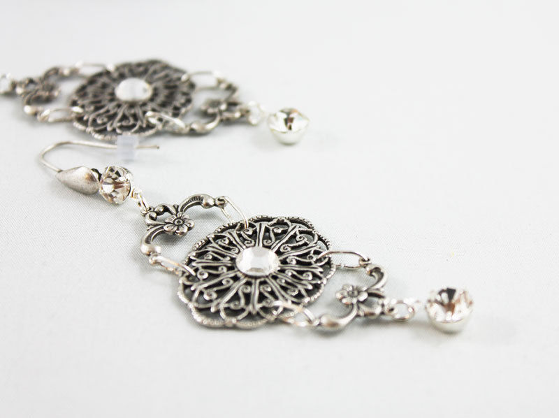 Fancy Silver Filigree Dangle Earrings - product images  of