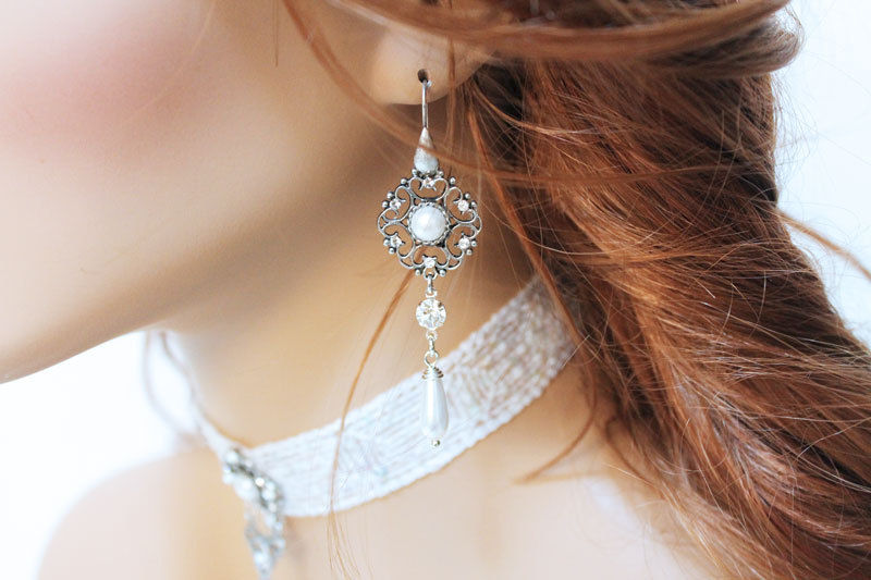 Long Oxidized Silver Pearl Bridal Earrings - product images  of