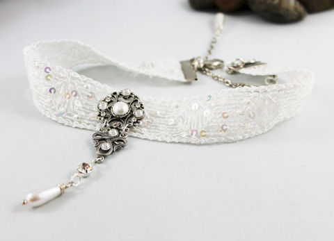 White,Lace,Victorian,Choker,Necklace,Jewelry,choker_necklace,white_choker,fabric_choker,sequin_collar,bridal_choker,wedding_jewelry,bridal_necklace,womens_choker,bridal_jewelry,white_necklace,pearl_choker,special_occasion,romantic_jewelry,cotton lace,sequin,oxidized silver ov