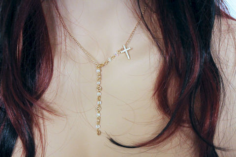 Dainty,Gold,Cross,Necklace,Jewelry,Rosary,cross_necklace,cross_choker,choker_necklace,gold_choker,gold_necklace,dainty_necklace,dainty_choker,dainty_cross,simple_necklace,dainty_jewelry,religious_jewelry,religious_cross,rosary_necklace,14k gold plated chain,rhinestone cros
