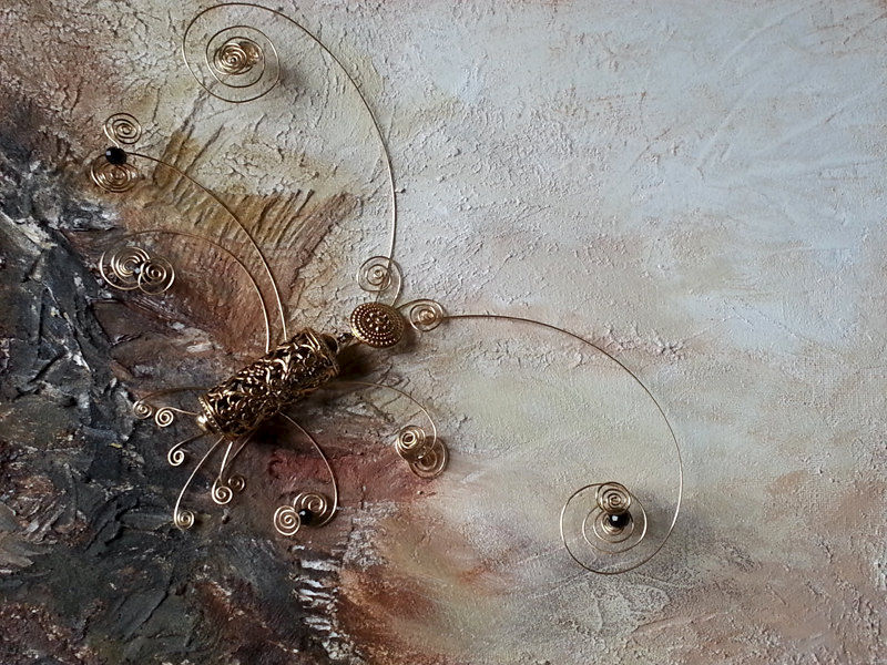 Abstract Painting, Textured 3D Butterfly Jewelry Art, Mixed Media Earthtone Wall Art, Original Abstract Sculpture - product images  of