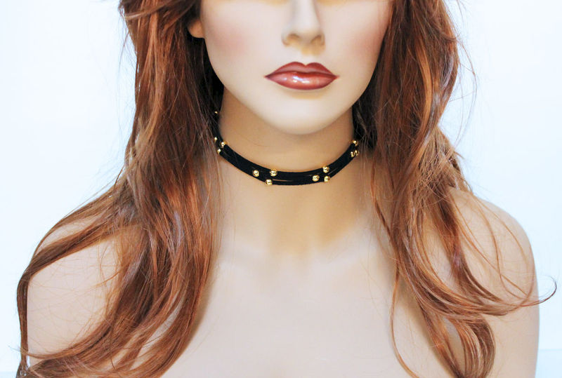 Gold Bead Simple Black Suede Choker - product images  of