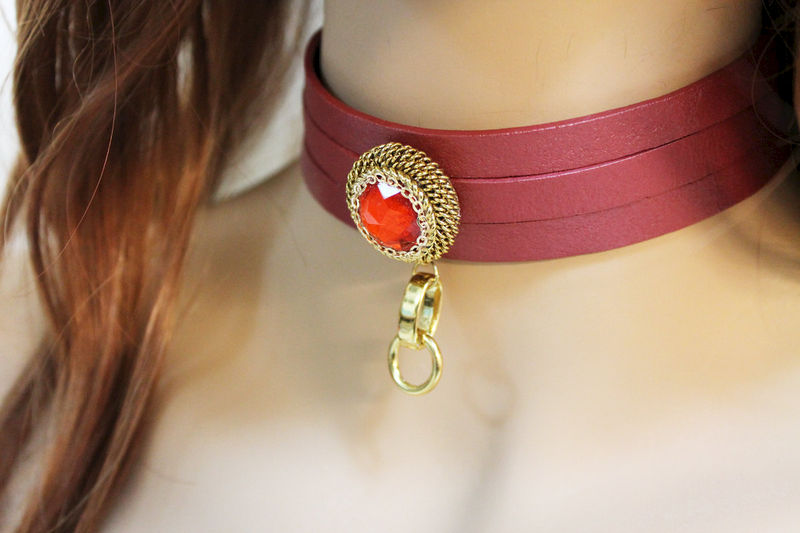 Sexy Red Leather Choker Necklace - product images  of