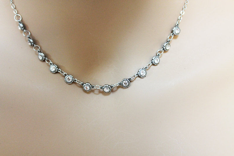 Minimalistic Silver Crystal Necklace - product images  of