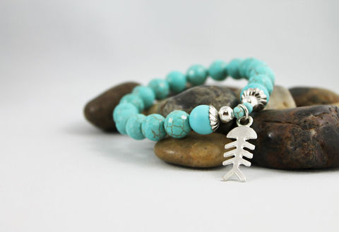 Unisex,Turquoise,Bead,Stretch,Bracelet,Jewelry,Beaded,mens_bracelet,bead_bracelet,mens_bead_bracelet,turquoise_bracelet,mens_turquoise,mens_jewelry,unisex_bracelet,turquoise_for_men,gift_idea,fish_charm_bracelet,fish_bone_charm,unisex_jewelry,stretch_bracelet,turquoise,silver plated b