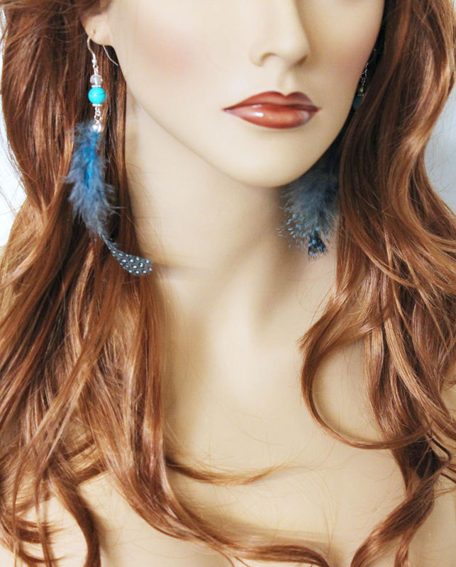Blue Turquoise Feather Earrings - product images  of
