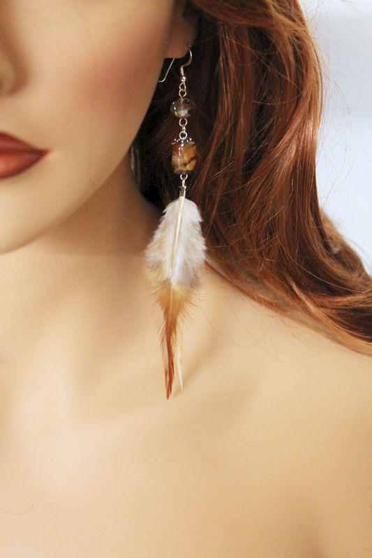 Brown Feather Earrings - product images  of