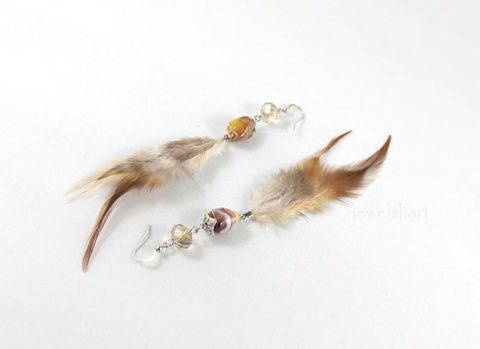 Brown,Feather,Earrings,Jewelry,Dangle,fashion_jewelry,fashion_jewellery,bead_earrings,sterling_earrings,feather_dangle,beaded_earrings,feather_earrings,sterling_silver,brown_earrings,tribal_earrings,feather_earring,dangle_earrings,boho_earrings,sterling silver,ceramic