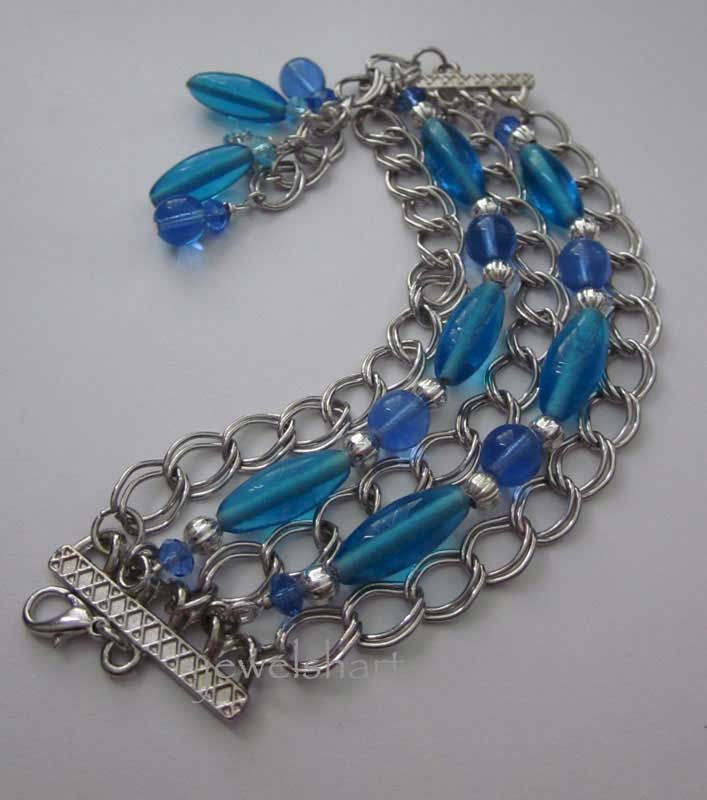Blue Beaded Multi Strand Chain Bracelet - product images  of