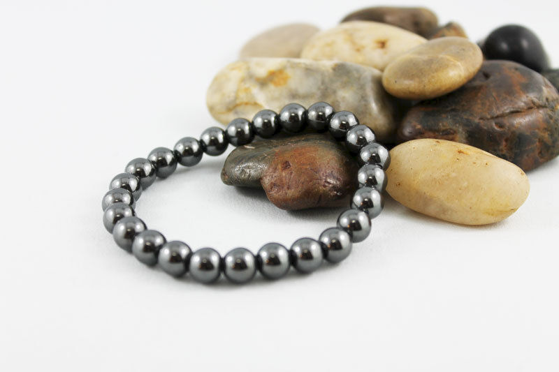 Unisex Hematite Bead Stretch Bracelet - product images  of