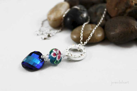 Blue,Pendant,Necklace,Jewelry,Beaded,swarovski_crystal,sterling_silver,elegant,swarovski_pendant,jewelshart,bermuda_blue,swarovski_necklace,pendant_necklace,lampwork_pendant,rhinestone,crystal_necklace,gift_idea,sterling silver,swarovski crystals