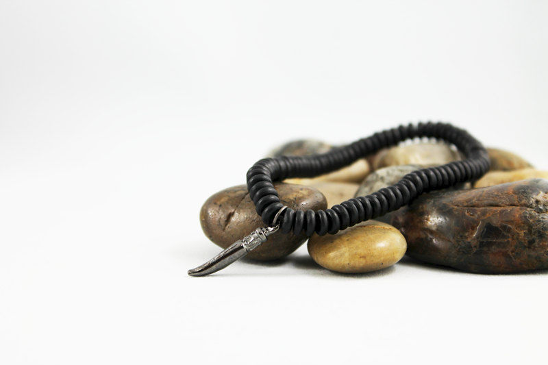 Men's Black Horn Beaded Bracelet - product images  of