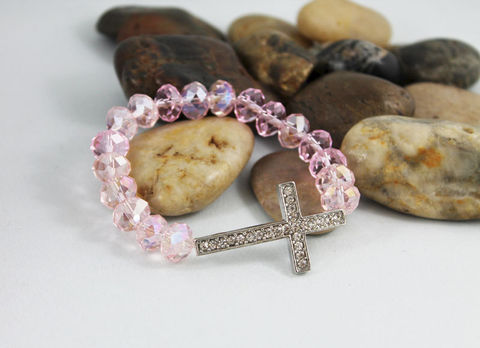Pink,Crystal,Bracelet,Jewelry,Beaded,pink_bracelet,cross_bracelet,christian_jewelry,religious,gift_for_her,gift_idea,sideways_cross,pink_crystal,stretch_bracelet,stacking_bracelet,womens_bracelet,faith_jewelry,beaded_bracelet,crystals,silver rhinestone cross,elastic c