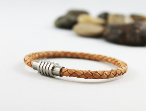 Men's,Braided,Natural,Tan,Leather,Bracelet,Jewelry,leather_bracelet,tan_leather,braided_leather,mens_bracelet,mens_leather,unisex_jewelry,unisex_bracelet,womens_leather,womens_bracelet,natural_tan_leather,stainless_steel,steel_clasp,magnetic_clasp,braided leather,stainless steel magnetic