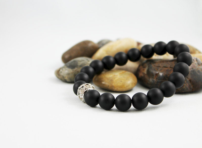 Black Matte Onyx Beaded Stretch Bracelet - product images  of