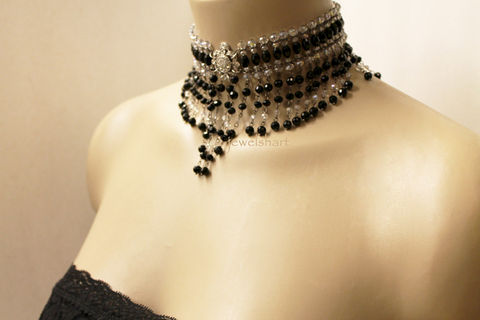 Elegant,Black,Beaded,Victorian,Choker,Necklace,Jewelry,victorian_choker,black_choker,victorian_necklace,crystal_bead_choker,choker_necklace,black_necklace,victorian_jewelry,special_occasion,elegant_necklace,victorian_jewellery,elegant_choker,beaded_choker,beaded_necklace,crystal beads