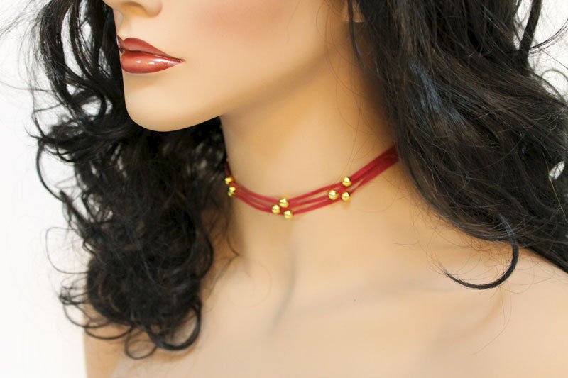 Simple Red Suede Choker Necklace - product images  of