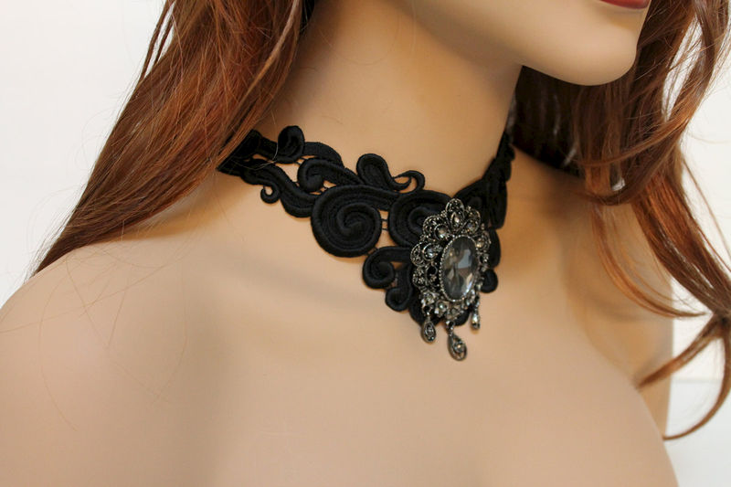 Black Lace Backdrop Evening Necklace - product images  of