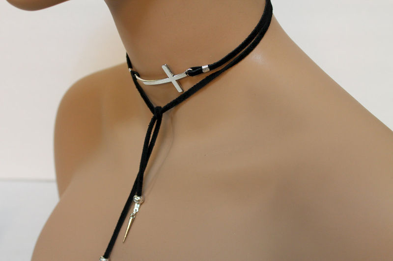 Black Suede Silver Sideway Cross Lariat - product images  of