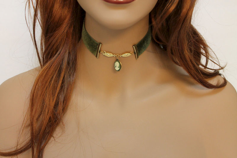 Green Velvet Victorian Cameo Choker  - product images  of