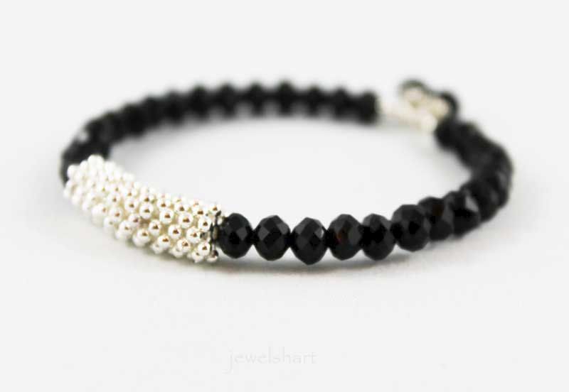 Shiny Black Bead Memory Wire Bangle Bracelet - product images  of