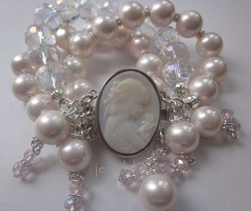 Three Strand Pearl Cameo Bracelet - product images  of